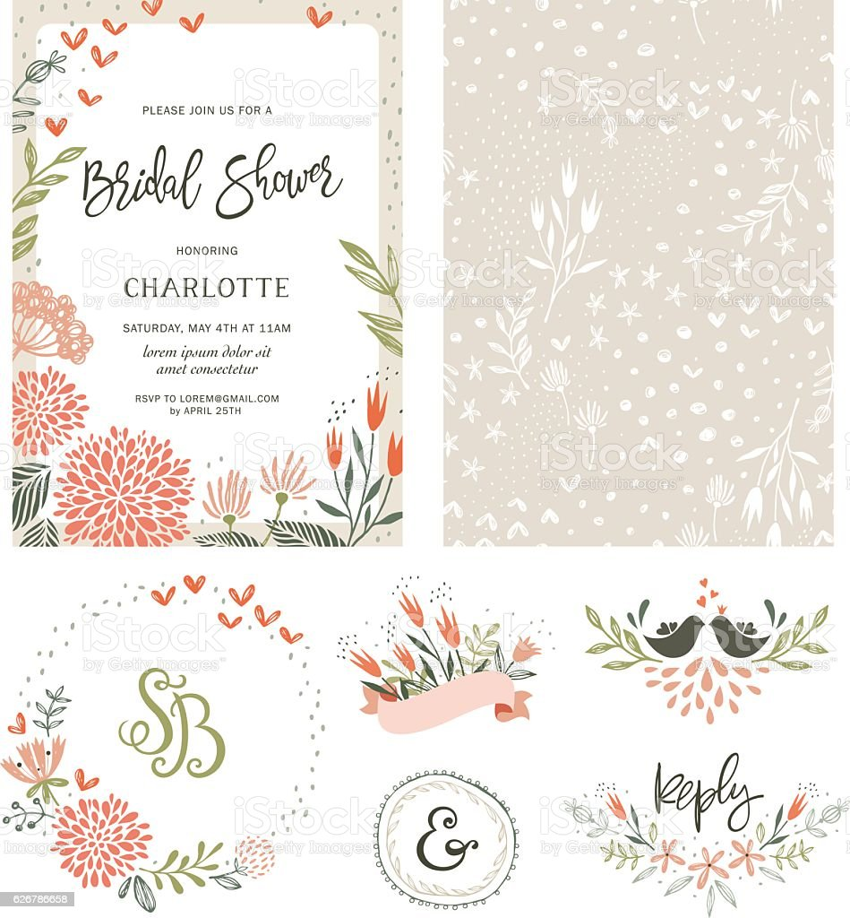 Bridal Shower Floral Set vector art illustration
