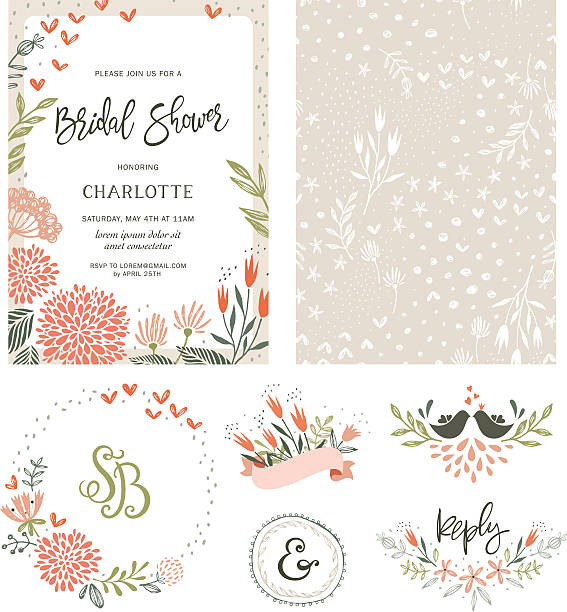 bridal shower floral set vector art illustration