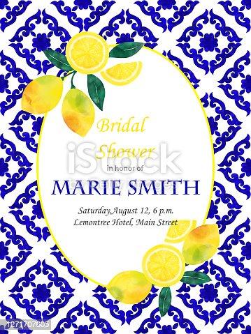 istock Bridal Shower Invitation Card Design with Fresh Lemons and Navy Blue Mediterranean Tiles. Wedding Concept, Design Element. 1271707605