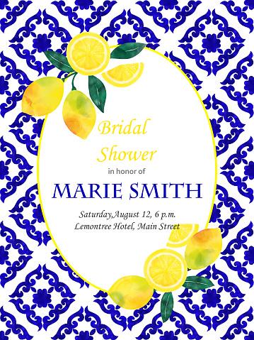 Bridal Shower Invitation Card Design with Fresh Lemons and Navy Blue Mediterranean Tiles. Wedding Concept, Design Element.