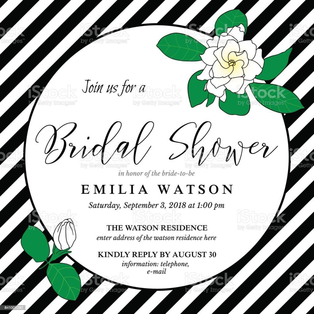 Bridal Shower Invitation Card Template With Hand Drawn Gardenia