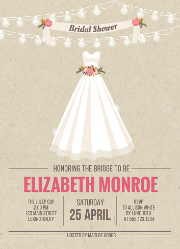 Bridal Shower Invitation Card with dress