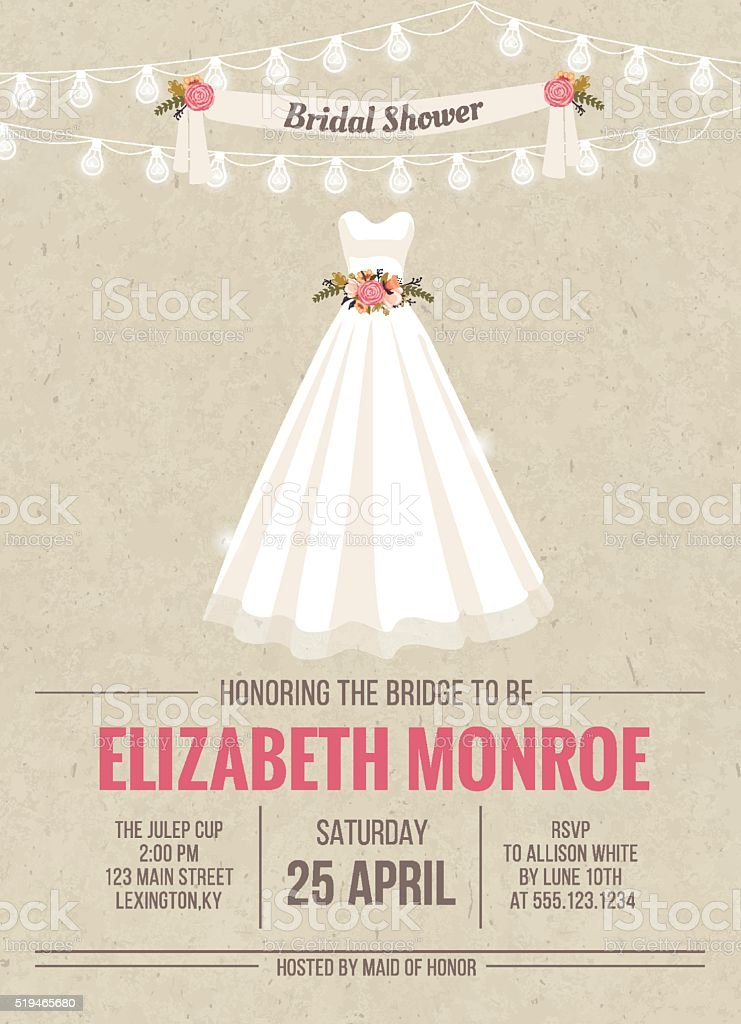 Bridal Shower Invitation Card with dress vector art illustration