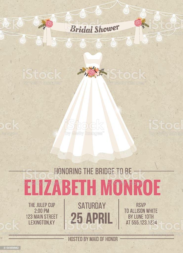 Fête de mariage Carte d'Invitation avec la robe - Illustration vectorielle