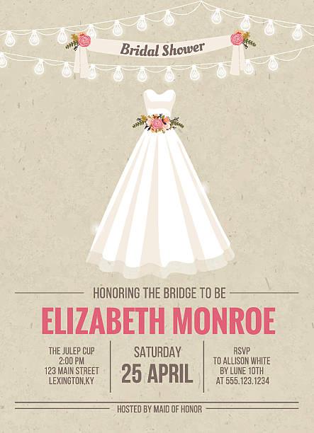 Bridal Shower Invitation Card with dress vector art illustration