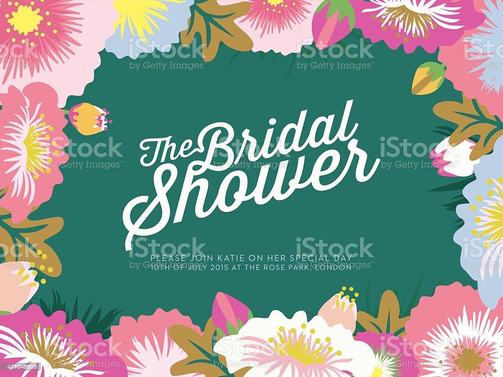 Fête de mariage invitation carte avec des fleurs - Illustration vectorielle