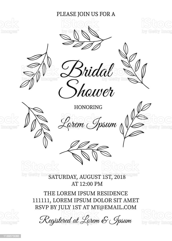 Bridal Shower Invitation Card With Hand Drawn Wreath Of