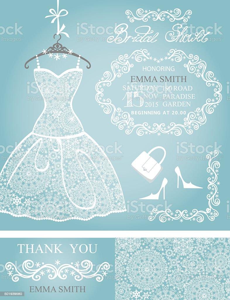 bridal shower invitation setwinter weddinglace dress royalty free stock vector art