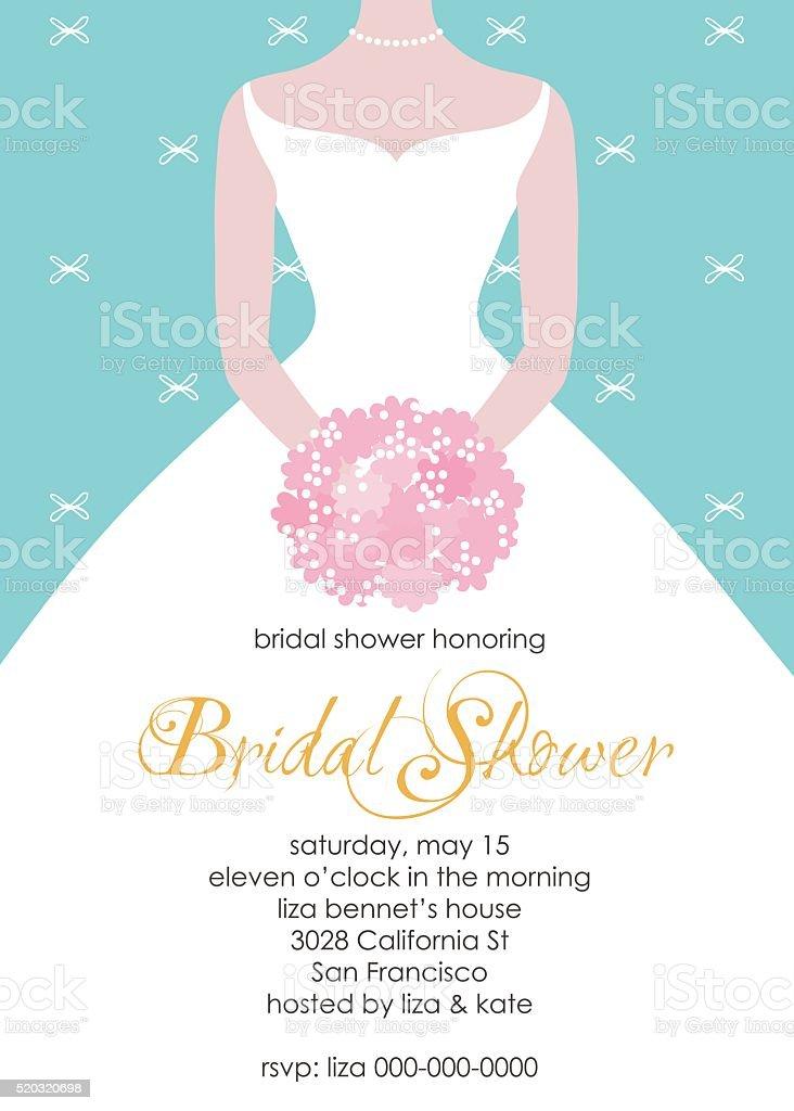 Bridal shower invitation template vector art illustration
