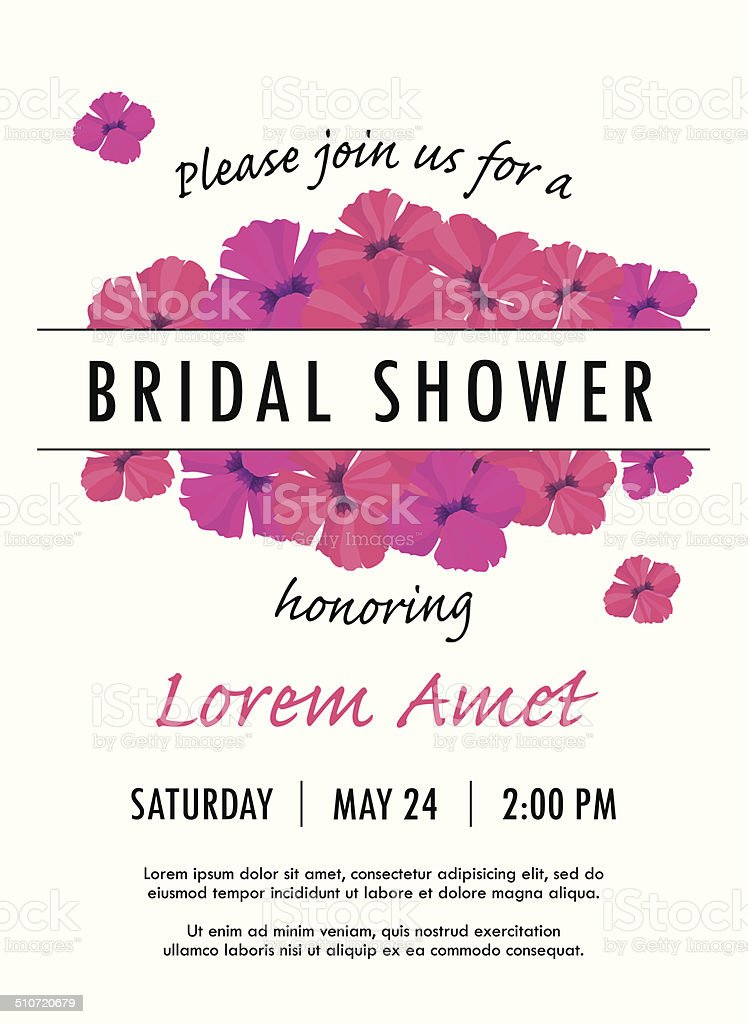 Bridal shower invitation template with delicate poppy buds and flowers vector art illustration