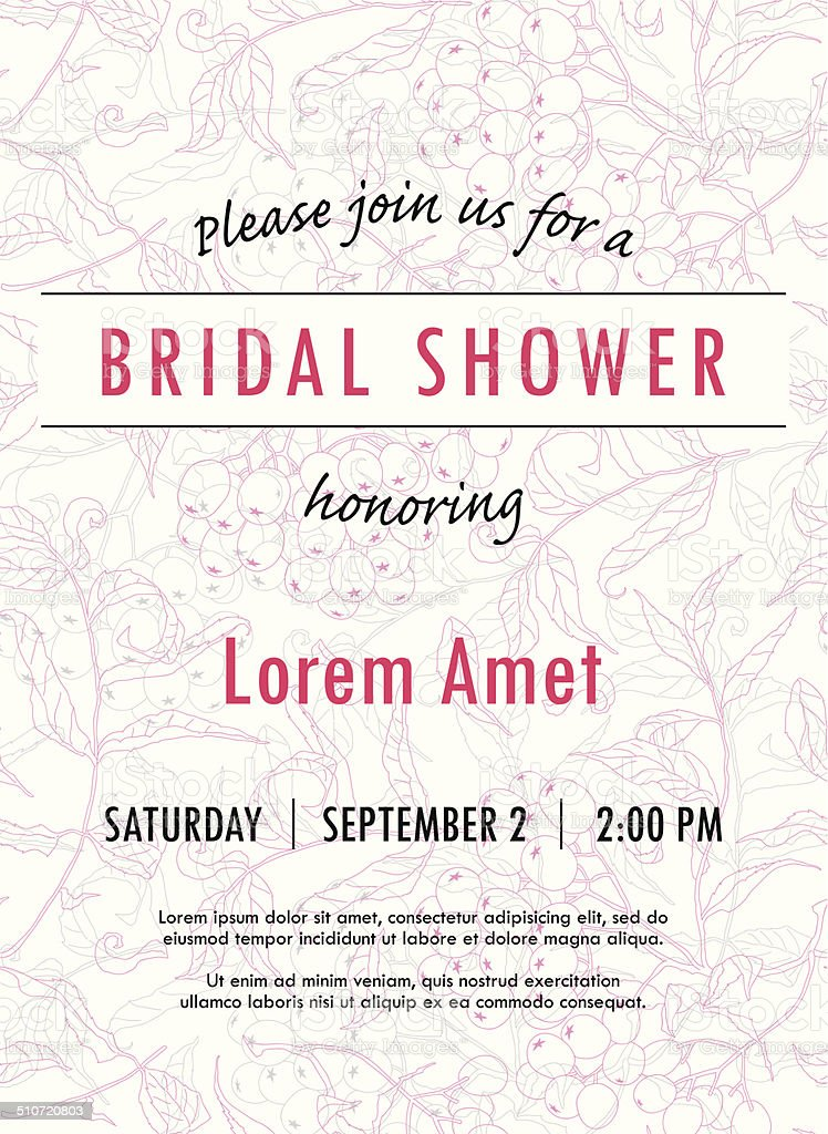 Bridal shower invitation template with rowan twigs and berries vector vector art illustration