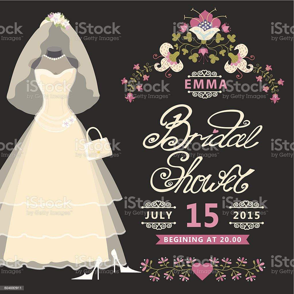 Braut Dusche Einladung .Vintage Hochzeit Kleid Mit Blumen Lizenzfreies  Brautdusche Einladung Vintage Hochzeit Kleid