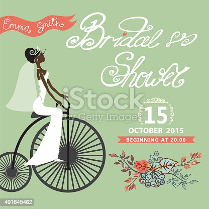 Bridal shower card with mulatto  bride on retro bicycle and floral garland .Vintage wedding invitation.Fashion vector Illustration