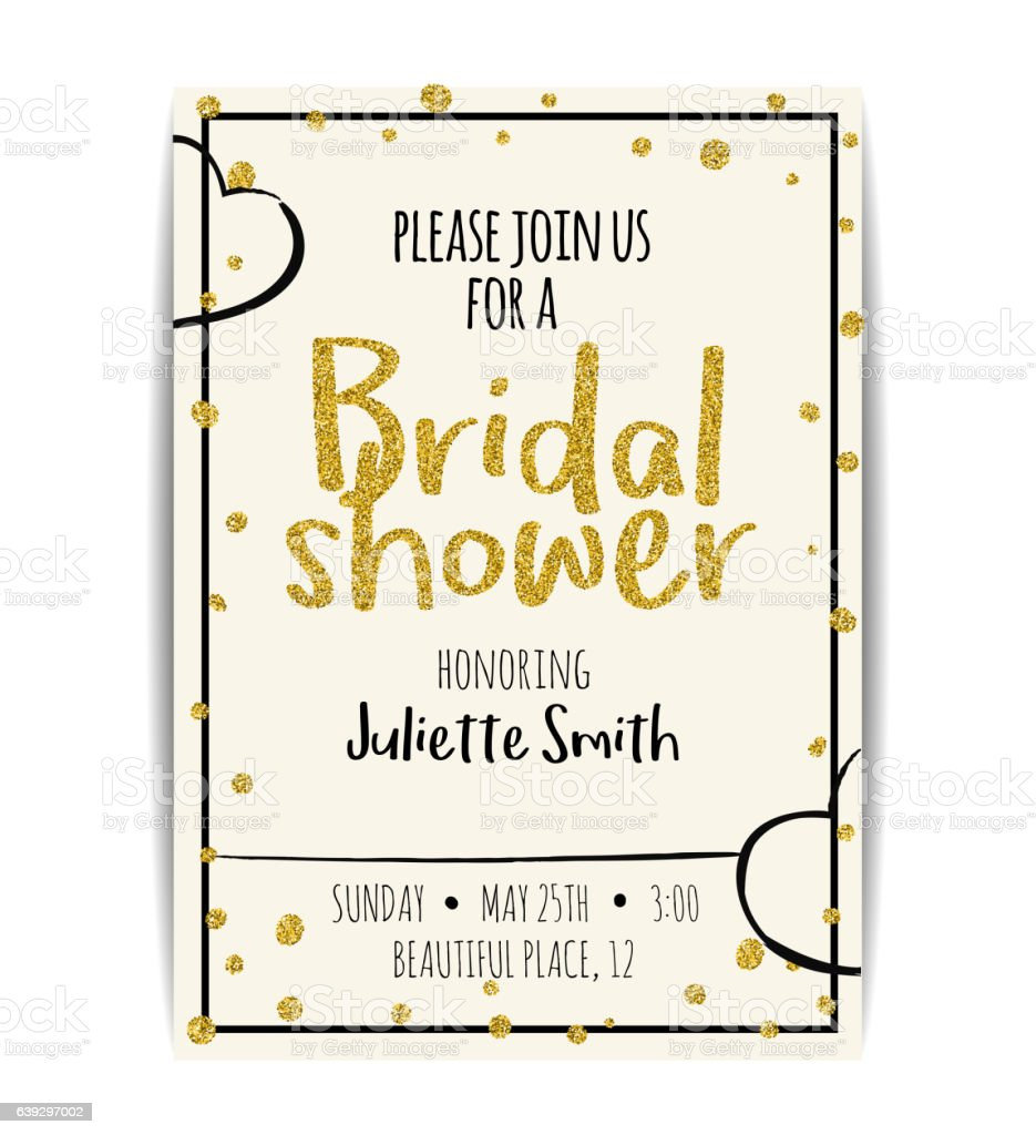 Bridal shower invitation with gold glitter text and dots stock bridal shower invitation with gold glitter text and dots royalty free stock vector art stopboris