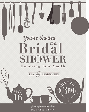 Bridal shower invitation with kitchenware on it.