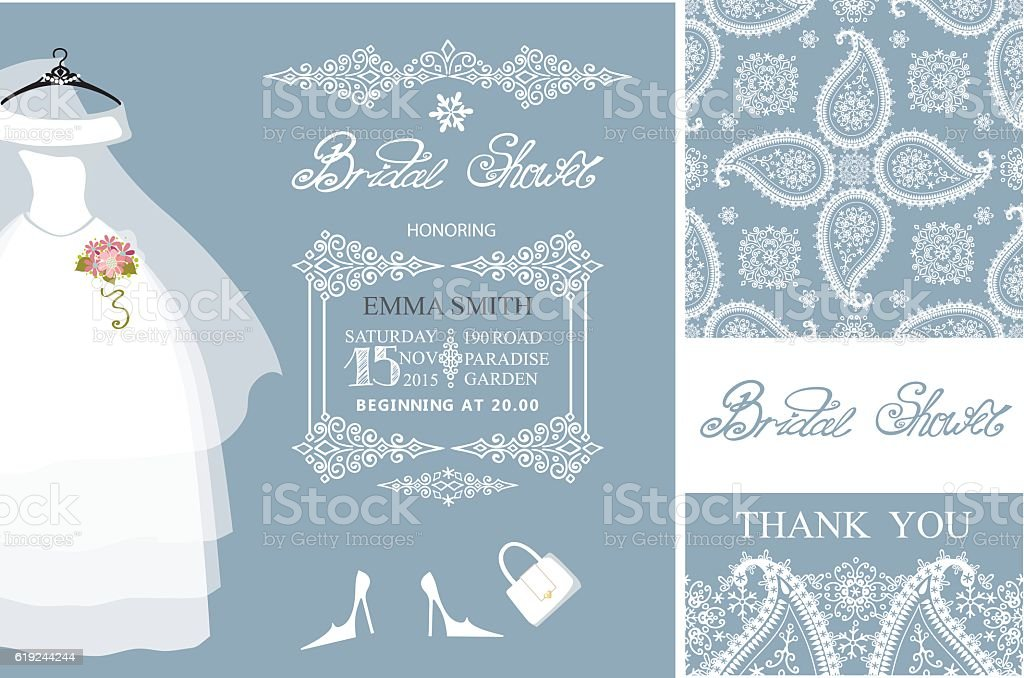 Bridal shower invitationswinter weddingpatterndress stock vector art bridal shower invitationswinter weddingpatterndress royalty free bridal shower invitationswinter filmwisefo Choice Image