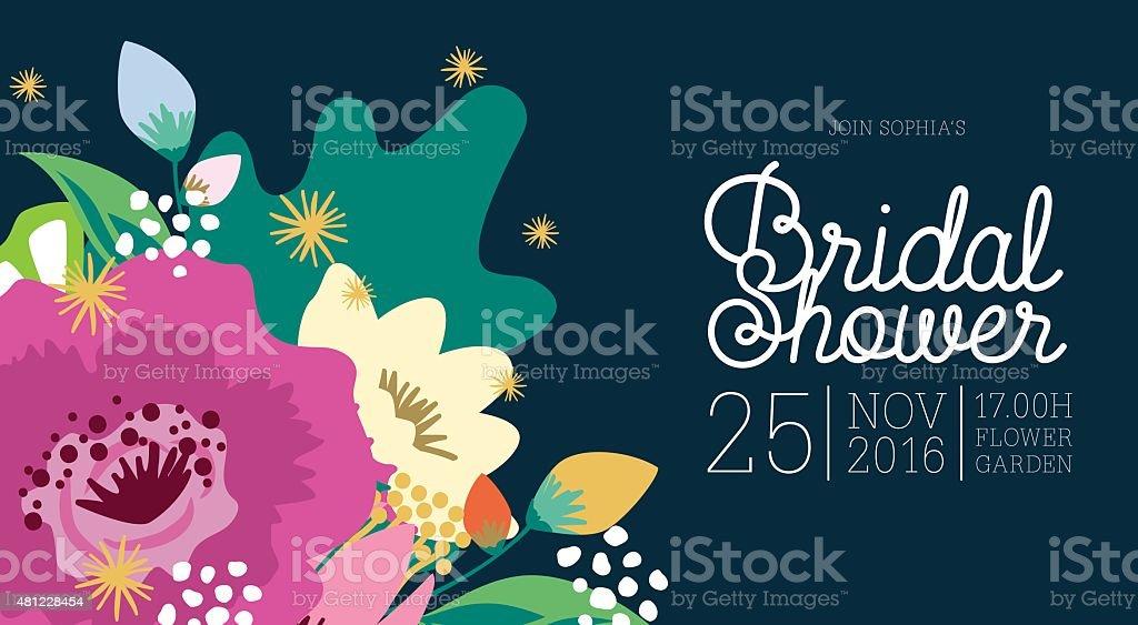 Fête prénuptiale rectangle carte conçue avec des fleurs. - Illustration vectorielle