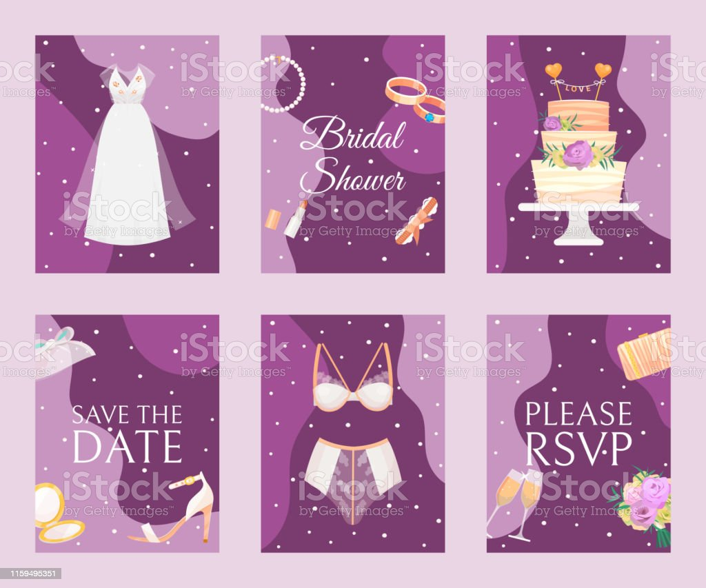 Bridal Shower Set Of Banners Cards Vector Illustration Save The