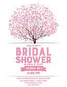 Bridal Shower Template With Cherry Blossom Tree
