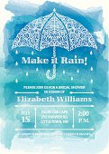 Make it Rain Bridal Shower Invitation. A lacy style umbrella decorated with raindrops, swirls of clouds and lightening bolts on a watercolor background. Please check my portfolio for more like this. Eps 10, transparencies used.