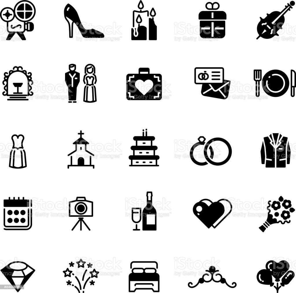 bridal vector symbols wedding vector black silhouette icons isolated