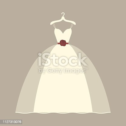 Wedding dress hanging vector illustration. Bridal white wedding dress with hanger.
