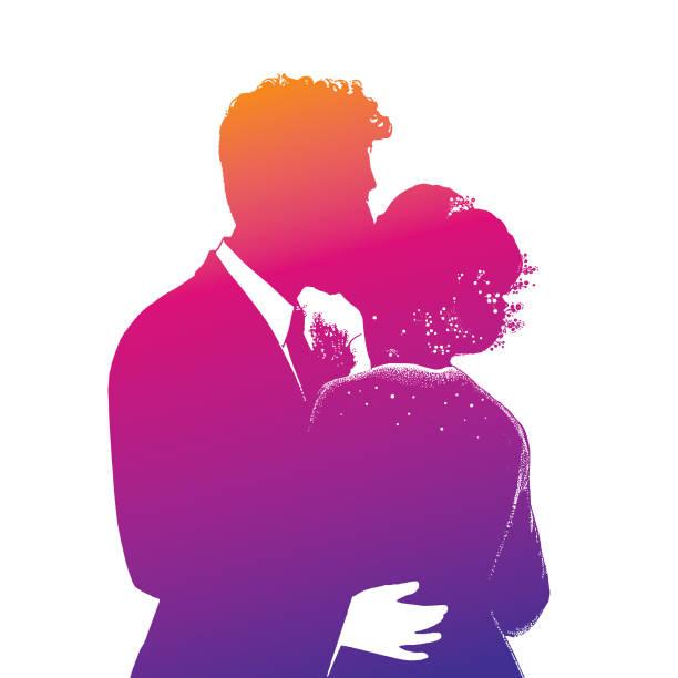bride and bridegroom first kiss at wedding - romance stock illustrations, clip art, cartoons, & icons