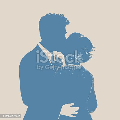 Silhouette line art of Bride and Bridegroom First Kiss at Wedding