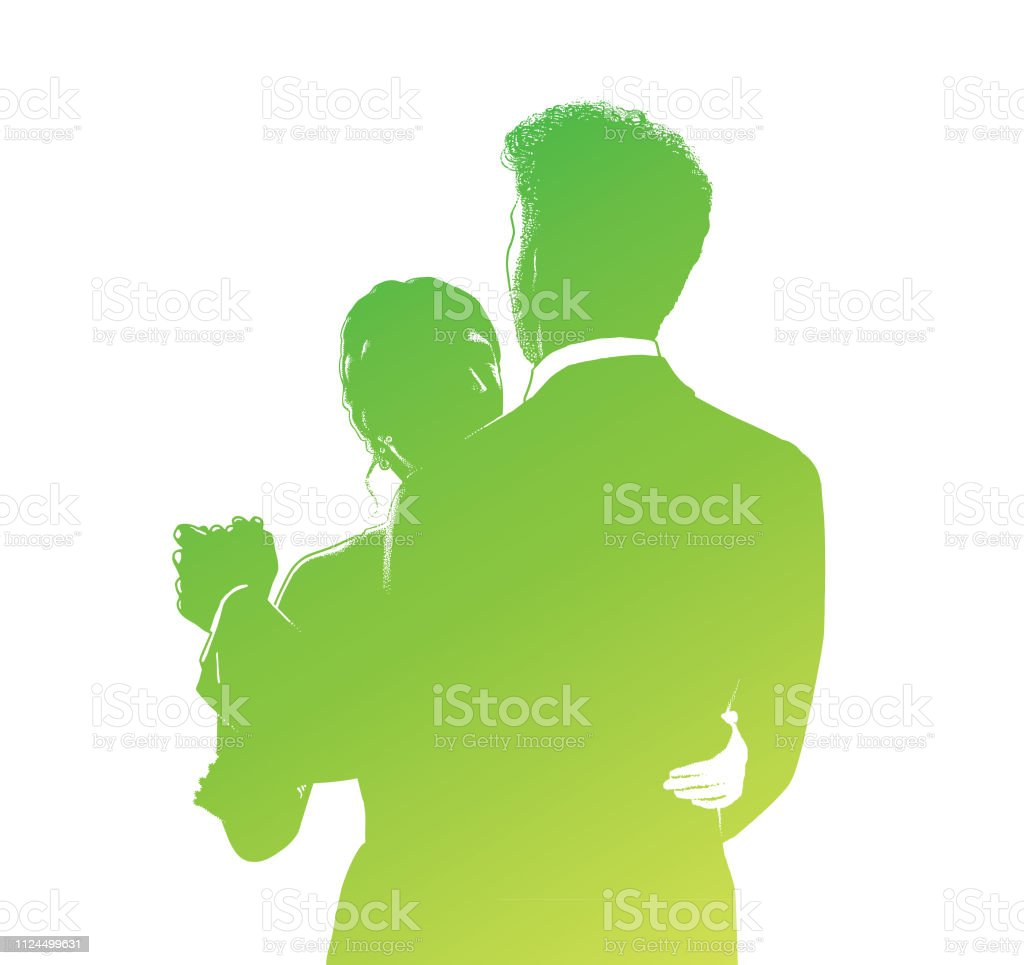 Silhouette line art of Bride and Bridegroom wedding first dance