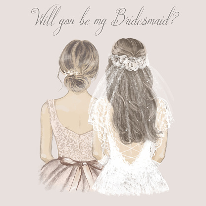 Bride and bridesmaid side by side, wedding invitation. Hand drawn illustration in vintage style