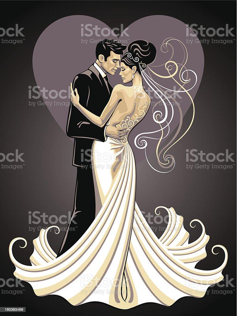 bride and fiance vector art illustration