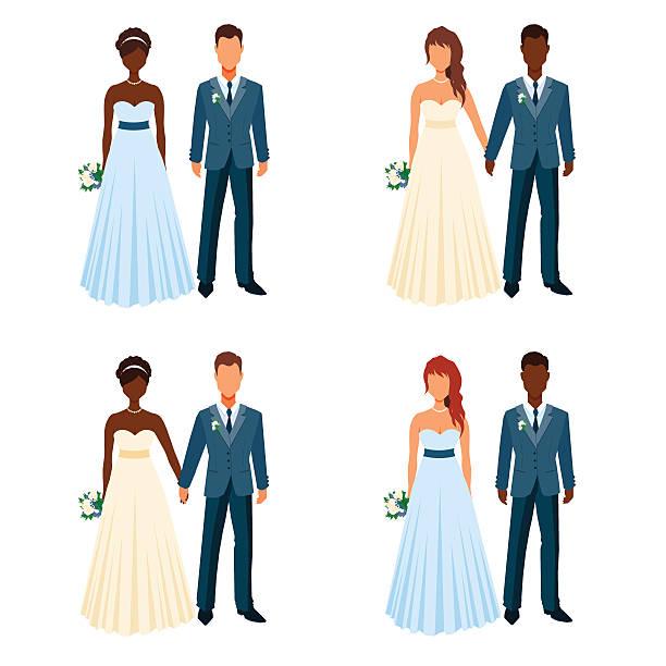 ilustrações, clipart, desenhos animados e ícones de bride and fiancee holding hands. wedding elegant couples set. - baile de graduação