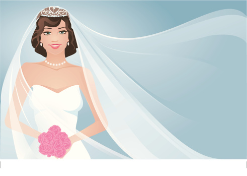 Bride and Flowing  Veil