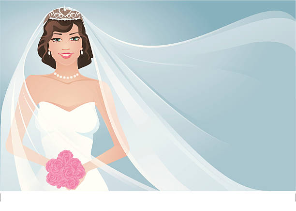 Bride and Flowing  Veil Bride holding bouquet with wind blowing her bridal veil. wedding dress stock illustrations
