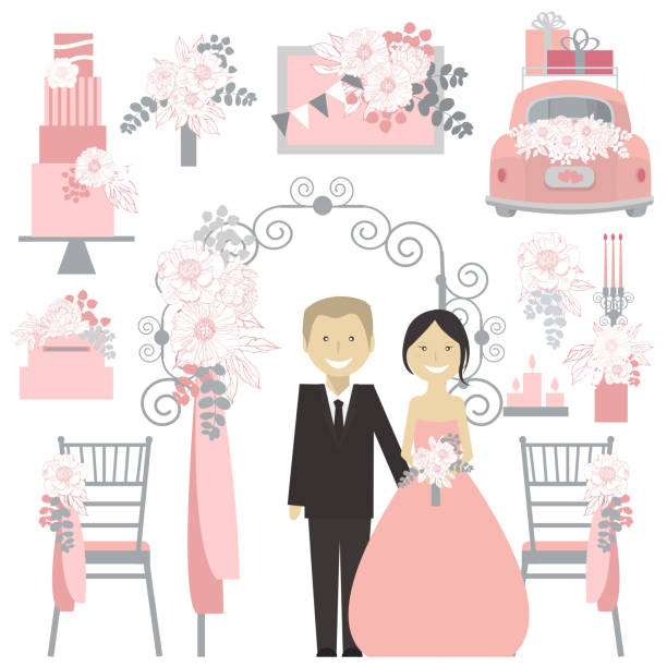 Bride and groom and a wedding arch.  Vector illustration. Bride and groom and a wedding arch with flowers. Just married couple.Wedding flowers, cake, decoration for chairs, bridal bouquet. Vector illustration. car love stock illustrations