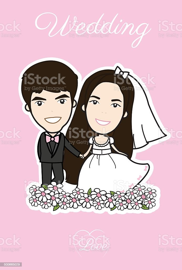 Bride and groom and flower beautiful royalty-free stock vector art