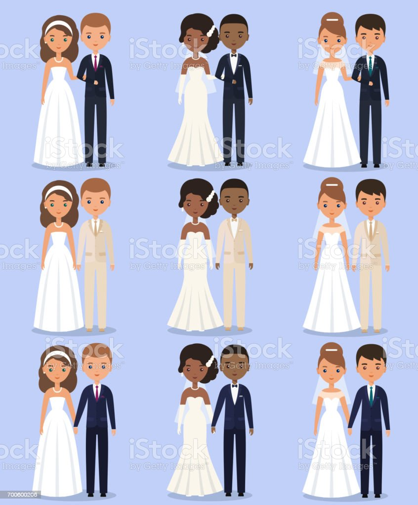 Bride and groom animated characters. Vector illustration. vector art illustration