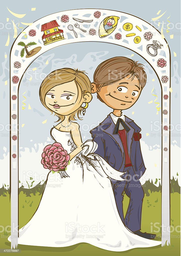 Bride and Groom at Altar royalty-free stock vector art