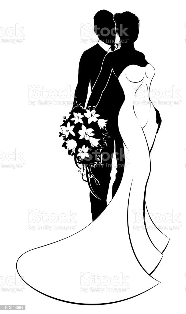 Bride and groom bouquet wedding silhouette arte vetorial de stock bride and groom bouquet wedding silhouette bride and groom bouquet wedding silhouette arte vetorial de junglespirit Gallery
