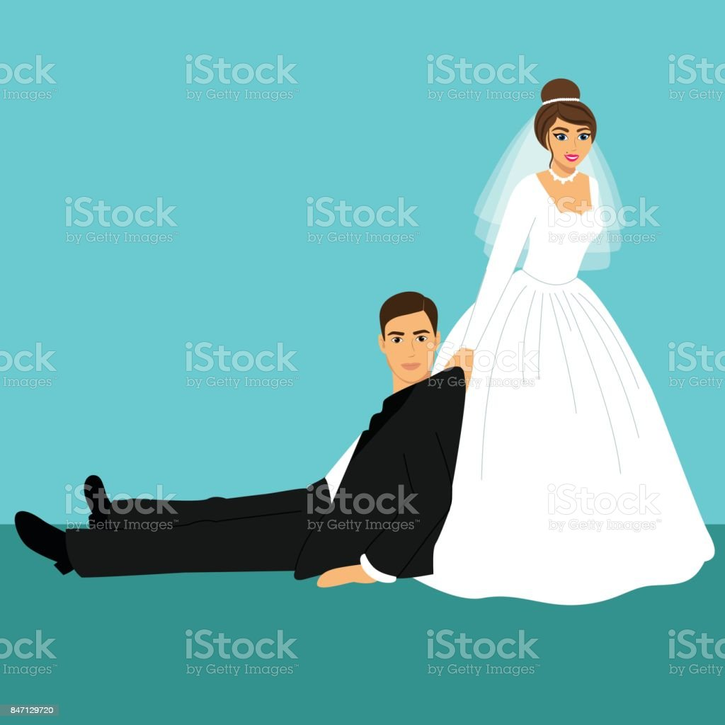 Bride And Groom Cartoon Funny Stock Vector Art More Images Of