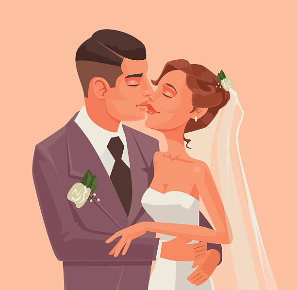 bride and groom character hug and kiss - kiss stock illustrations