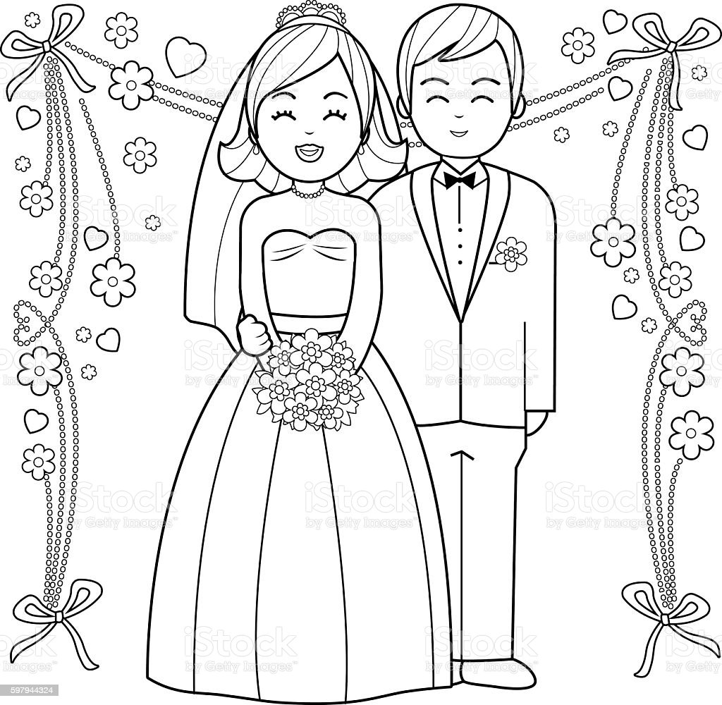 Bride and groom coloring book page. ilustração de bride and groom coloring book page e mais banco de imagens de adulto royalty-free