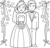 Bride and groom coloring book page.