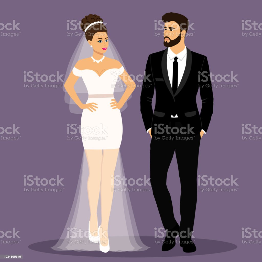 Braut Und Brautigam Paar Hochzeitskarte Mit Dem Brautpaar Stock