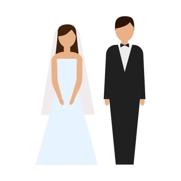 narzeczeni. para. ilustracja ceremonii ślubnej - panna młoda stock illustrations