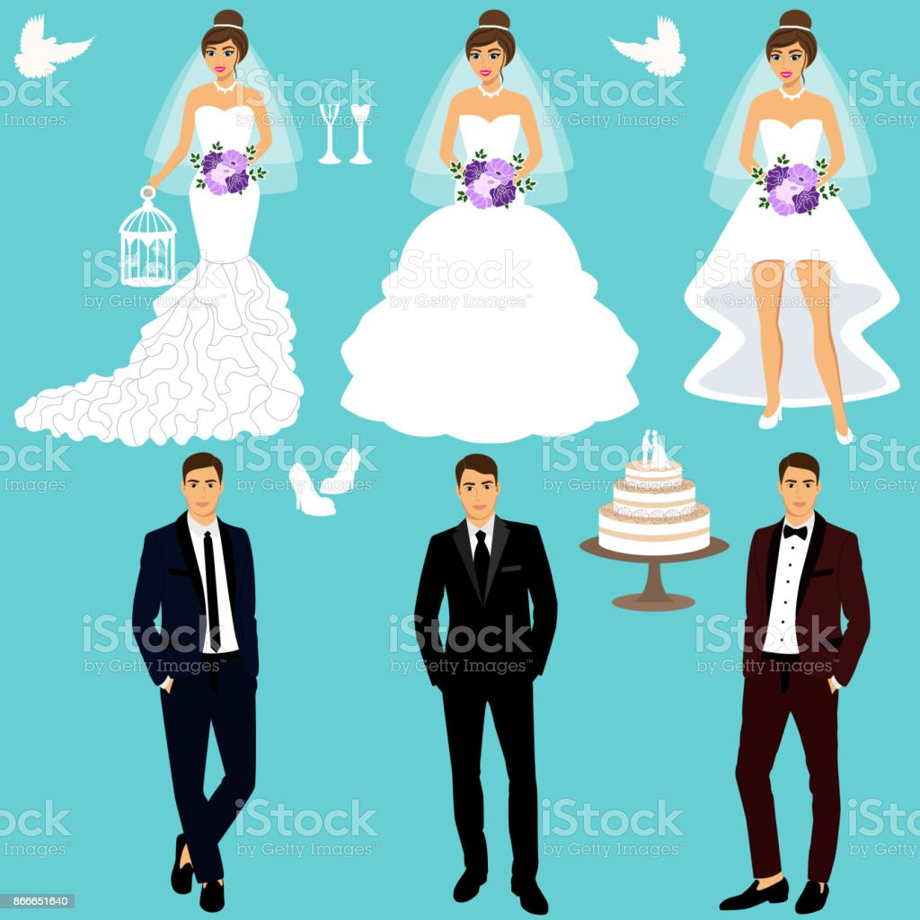 Bride and groom. Couple. Wedding set. Collection. vector art illustration