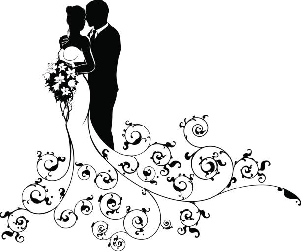 Bride and Groom Couple Wedding Silhouette Abstract A bride and groom wedding couple in silhouette with a white bridal dress gown holding a floral bouquet of flowers and an abstract floral pattern concept bridegroom stock illustrations