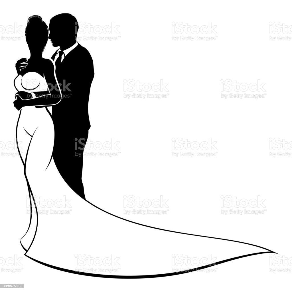 Braut Und Brautigam Paar Hochzeit Silhouette Stock Vektor Art Und