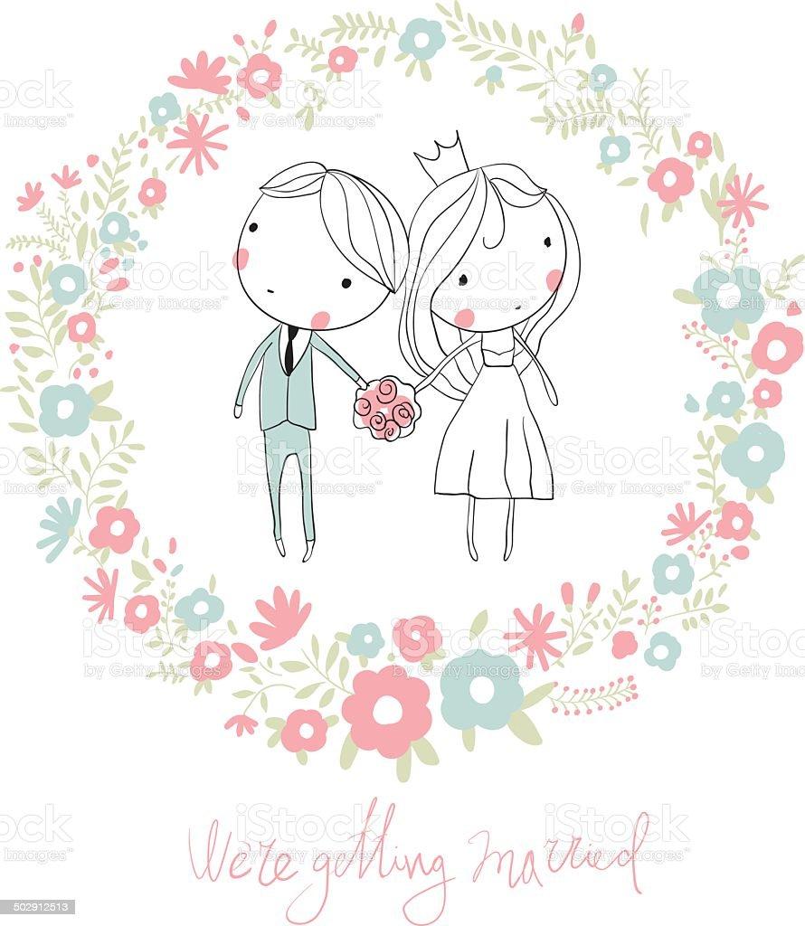 Braut Und Brautigam Niedliche Vektorhochzeitkarte Mit Blumen Stock