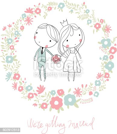 Bride And Groom Cute Vector Wedding Card With Flowers ...